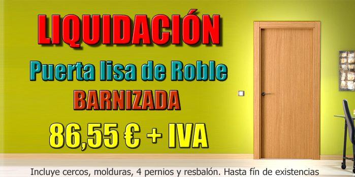 Liquidación Puerta lisa de Roble Barnizado